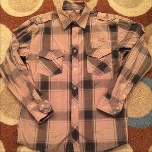 Other - Plaid Tan Black and Orange Shirt Size Medium
